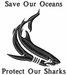Protect Our Sharks embroidery design
