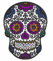 Floral Skull embroidery design