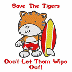 Save The Tigers embroidery design