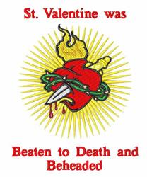 St Valentine embroidery design