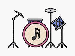 Drumset embroidery design