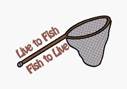 Live To Fish embroidery design