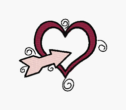 Arrow Through Heart embroidery design