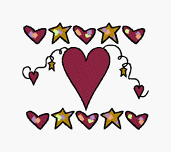 Hearts And Stars embroidery design