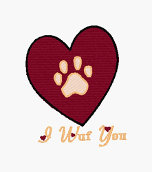 I Wuf You embroidery design