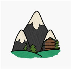 Cabin In The Mountains embroidery design
