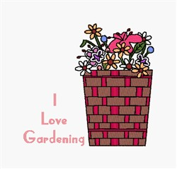 I Love Gardening embroidery design