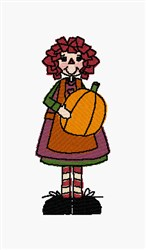 October Raggedy embroidery design
