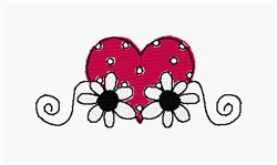 Heart And Daisies embroidery design