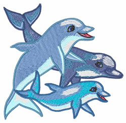 Dolphin Family embroidery design