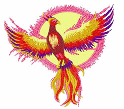 Phoenix With Sun embroidery design