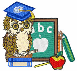 Scholar Owl embroidery design