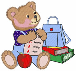 School Bear embroidery design