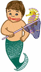 Mermaid Boy embroidery design
