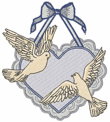 Doves With Heart embroidery design