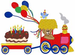 Birthday Train embroidery design