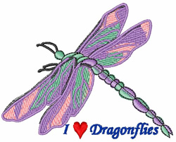 I Love Dragonflies embroidery design