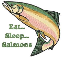 Eat Sleep Salmons embroidery design