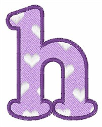 Lowercase h embroidery design