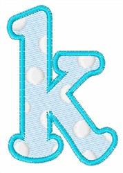 Lowercase k embroidery design