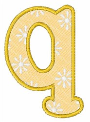 Lowercase q embroidery design