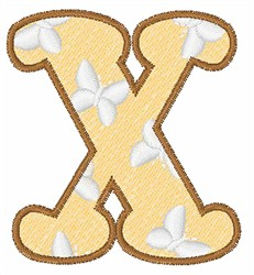 Lowercase x embroidery design