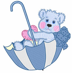 Teddy In Umbrella embroidery design