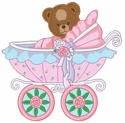 Teddy In Carriage embroidery design