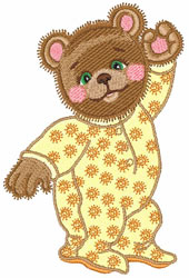 Bedtime Bear embroidery design