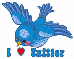 I Love Twitter embroidery design