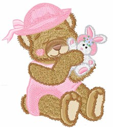 Bear With Rabbit embroidery design