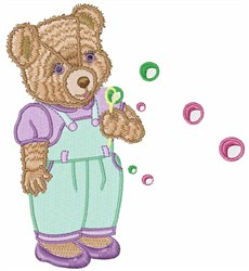 Teddy Bubbles embroidery design