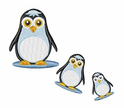 Happy Penguin Family embroidery design
