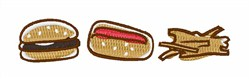 Tasty Bites Burger Fries embroidery design
