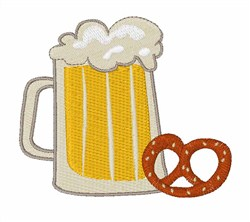 Beer & Pretzel Break embroidery design
