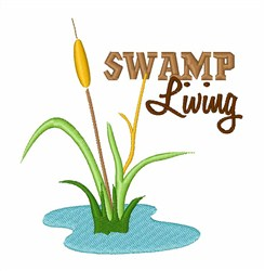 Swamp Living Cattail embroidery design