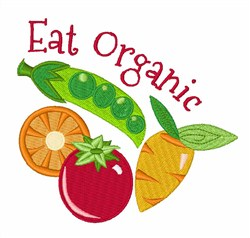 Eat Organic Veggies embroidery design