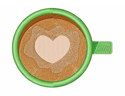Heart Coffee embroidery design