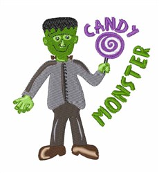 Candy Monster Frankenstein embroidery design