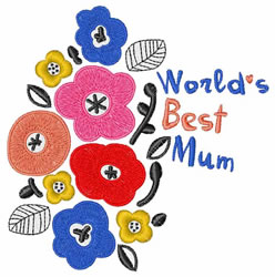 Worlds Best Mum embroidery design