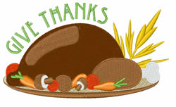 Give Thanks Turkey embroidery design