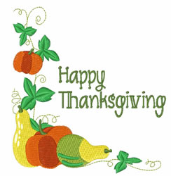 Happy Thanksgiving Corner embroidery design