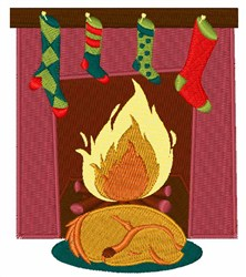 Dog At Fireplace embroidery design