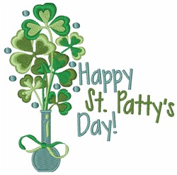 Happy St. Patricks Clover embroidery design