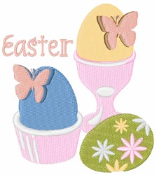Easter Eggs With Butterflies embroidery design