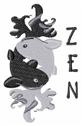 Zen Koi Yin and Yang embroidery design