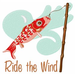 Koi Ride The Wind Sock embroidery design