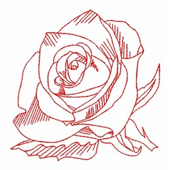 Redwork Rose embroidery design