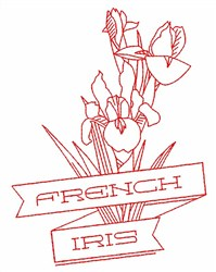 French Iris embroidery design