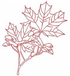 Maple Redwork embroidery design